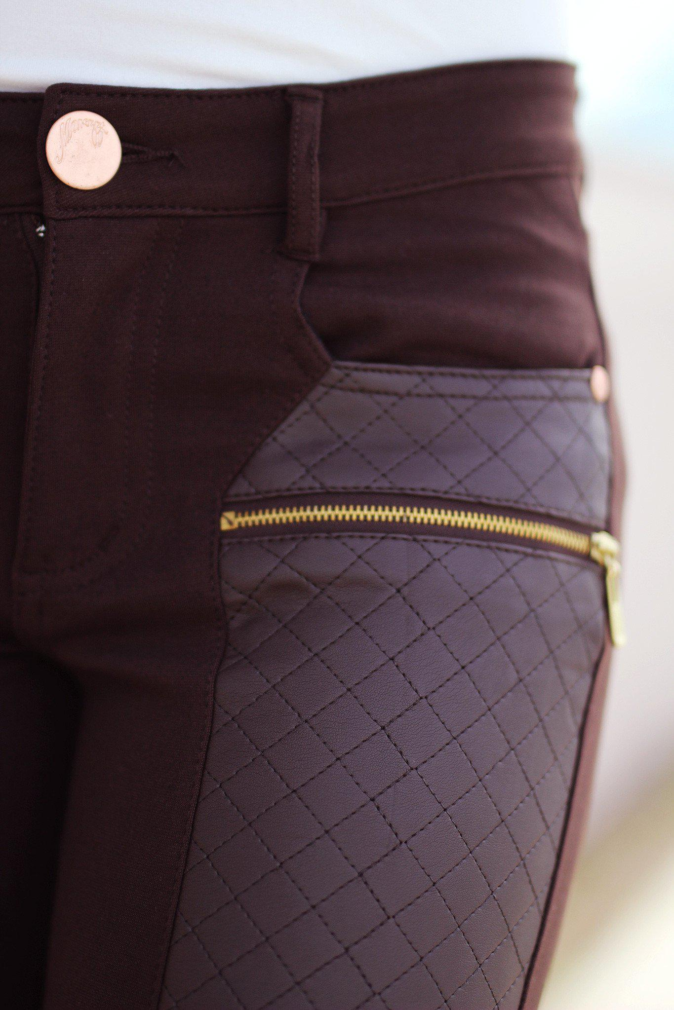 Brown Pants with Quilted Leather Detail