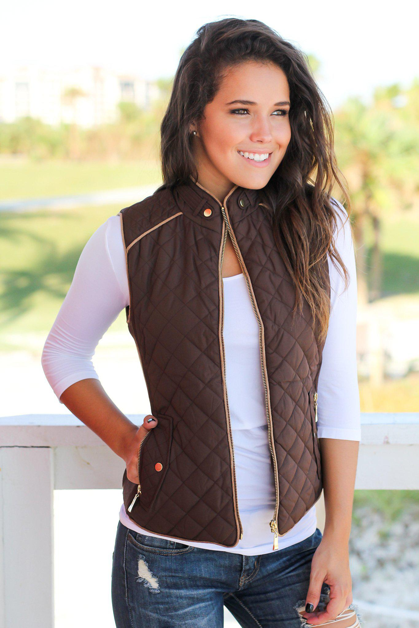 Brown Quilted Vest With Pockets