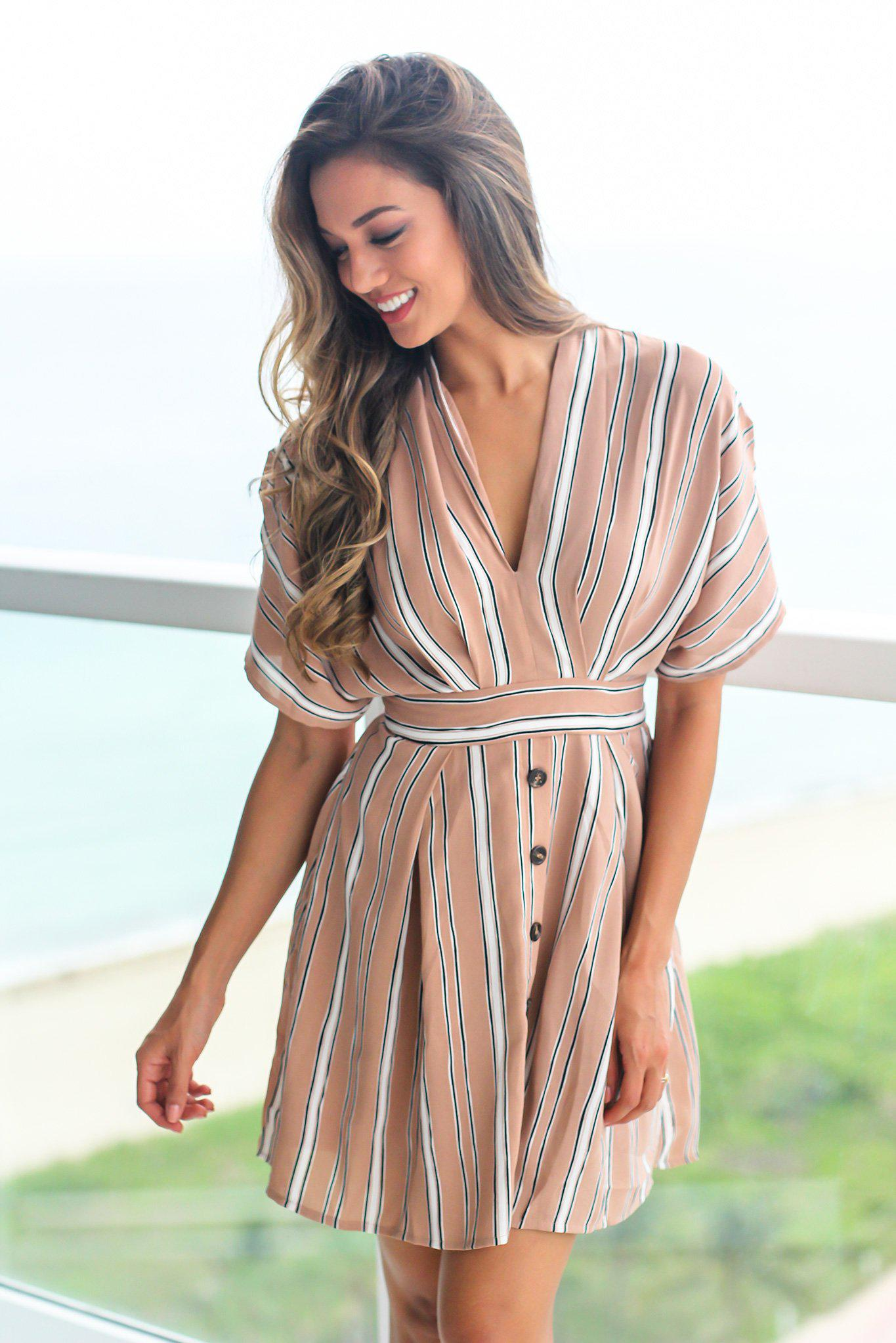 Brown Short Dress with Open Back and Button Details
