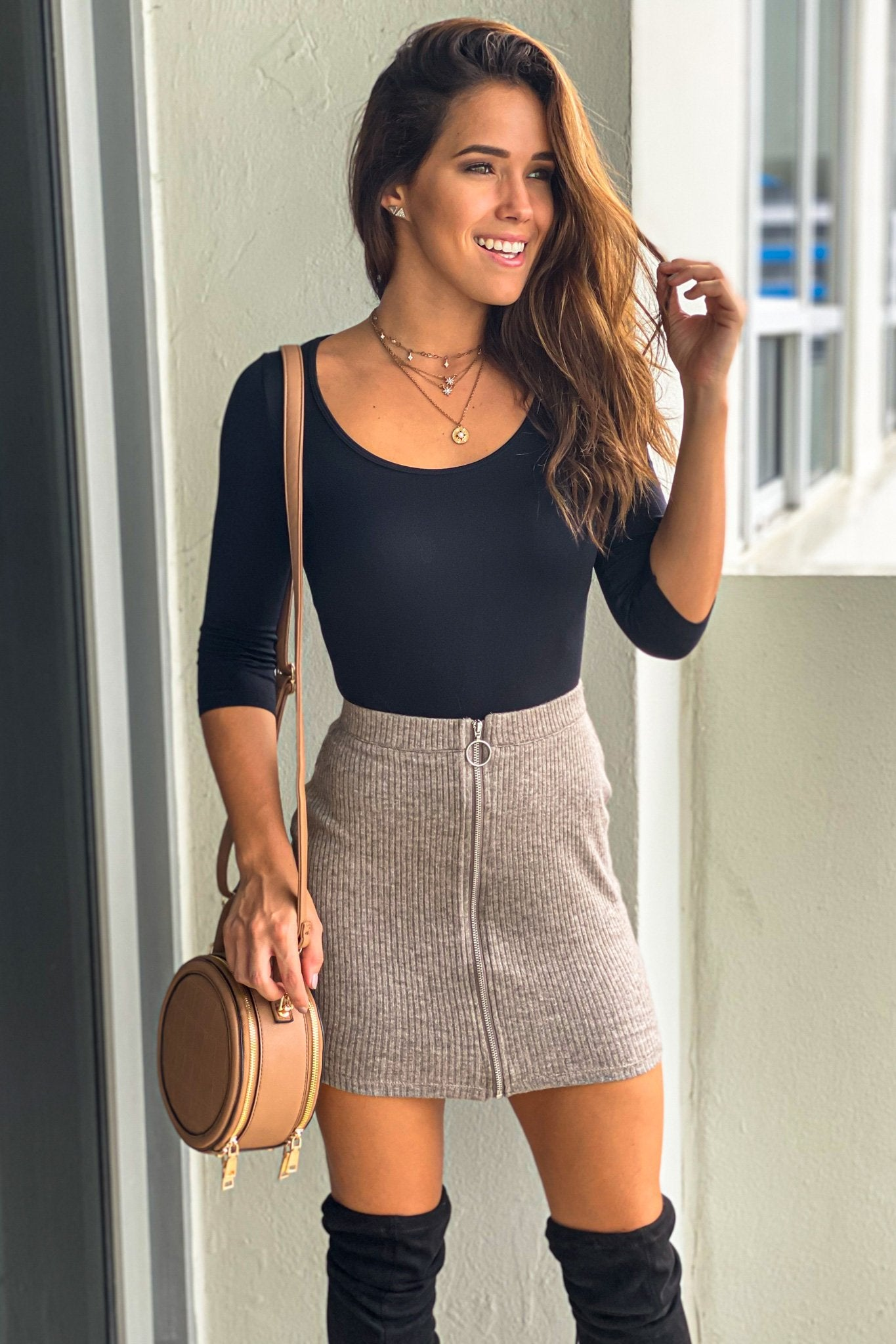 Brown Skirt With Zipper