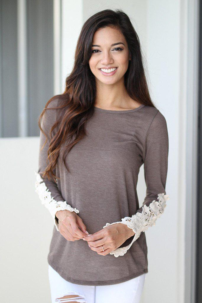 Brown Top With Crochet Sleeves