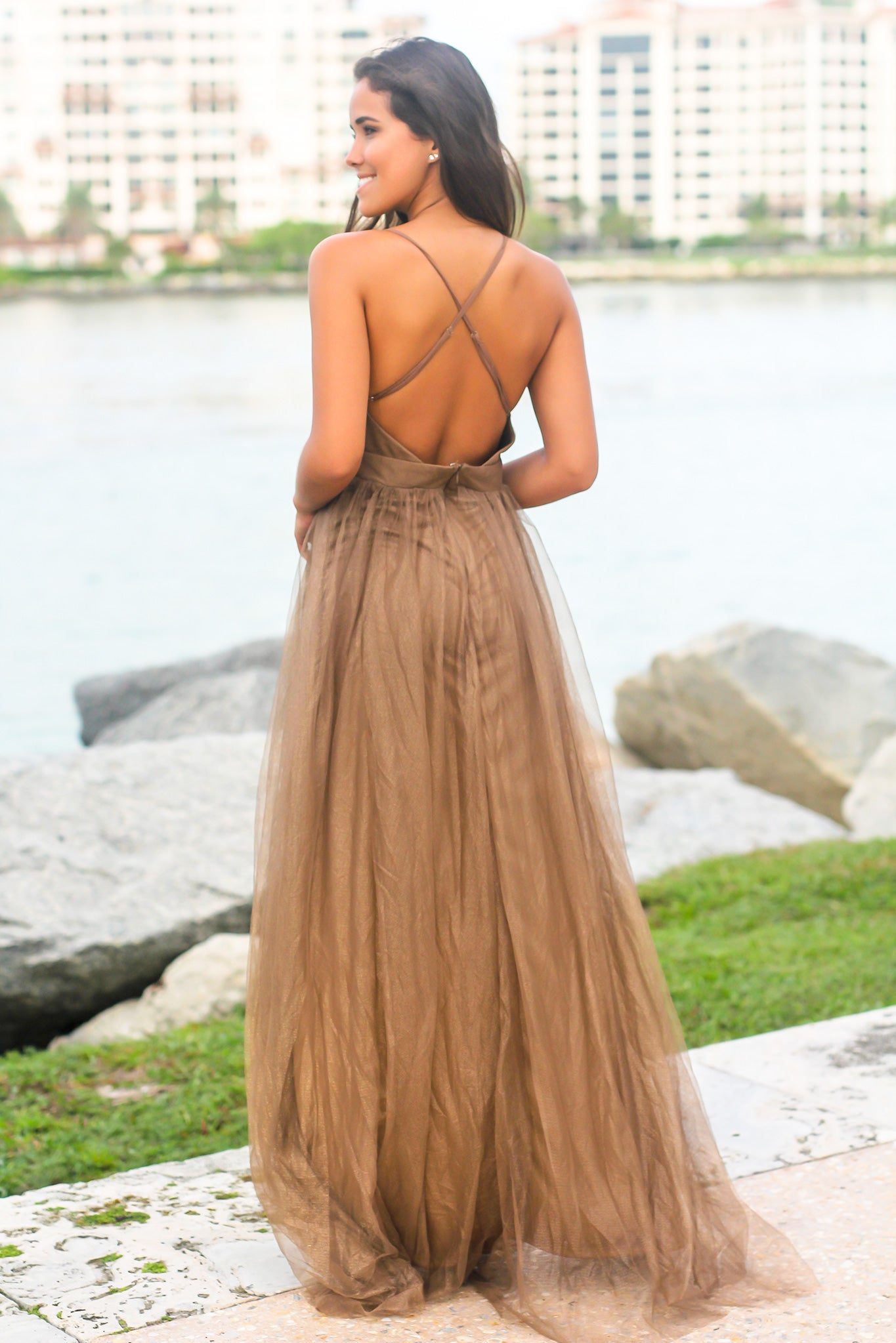 Brown Tulle Maxi Dress