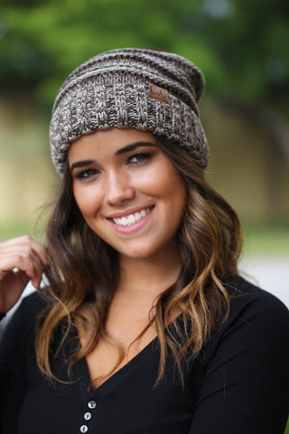 Brown Two Toned Slouchy Beanie