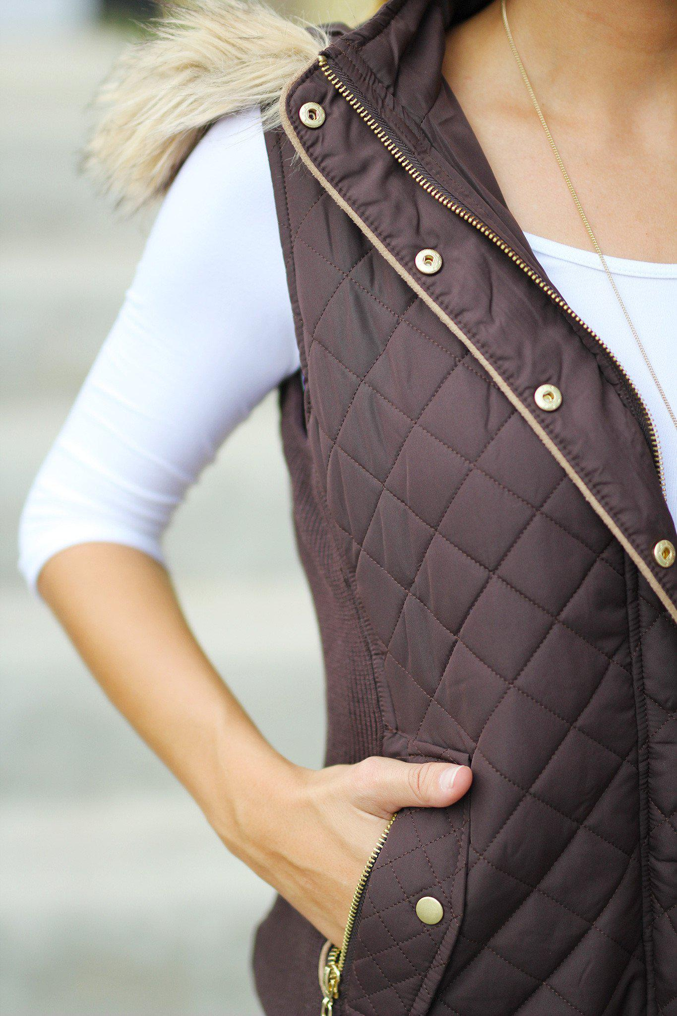Brown Hooded Vest with Fur Trimming