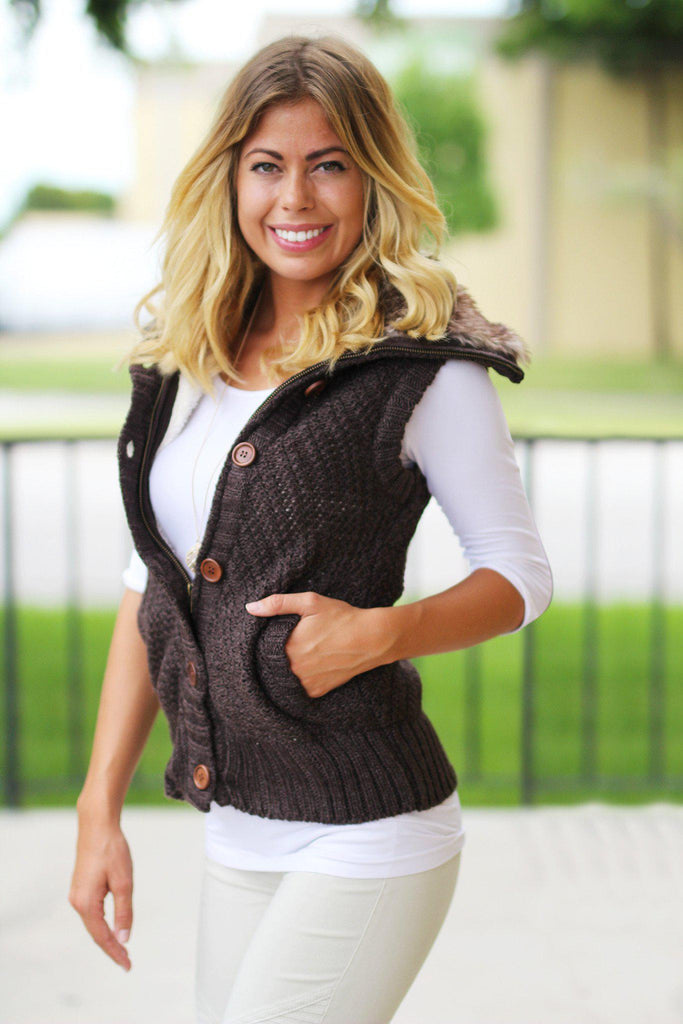 Brown Sweater Vest With Fur