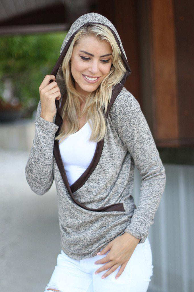 brown wrap hooded sweater