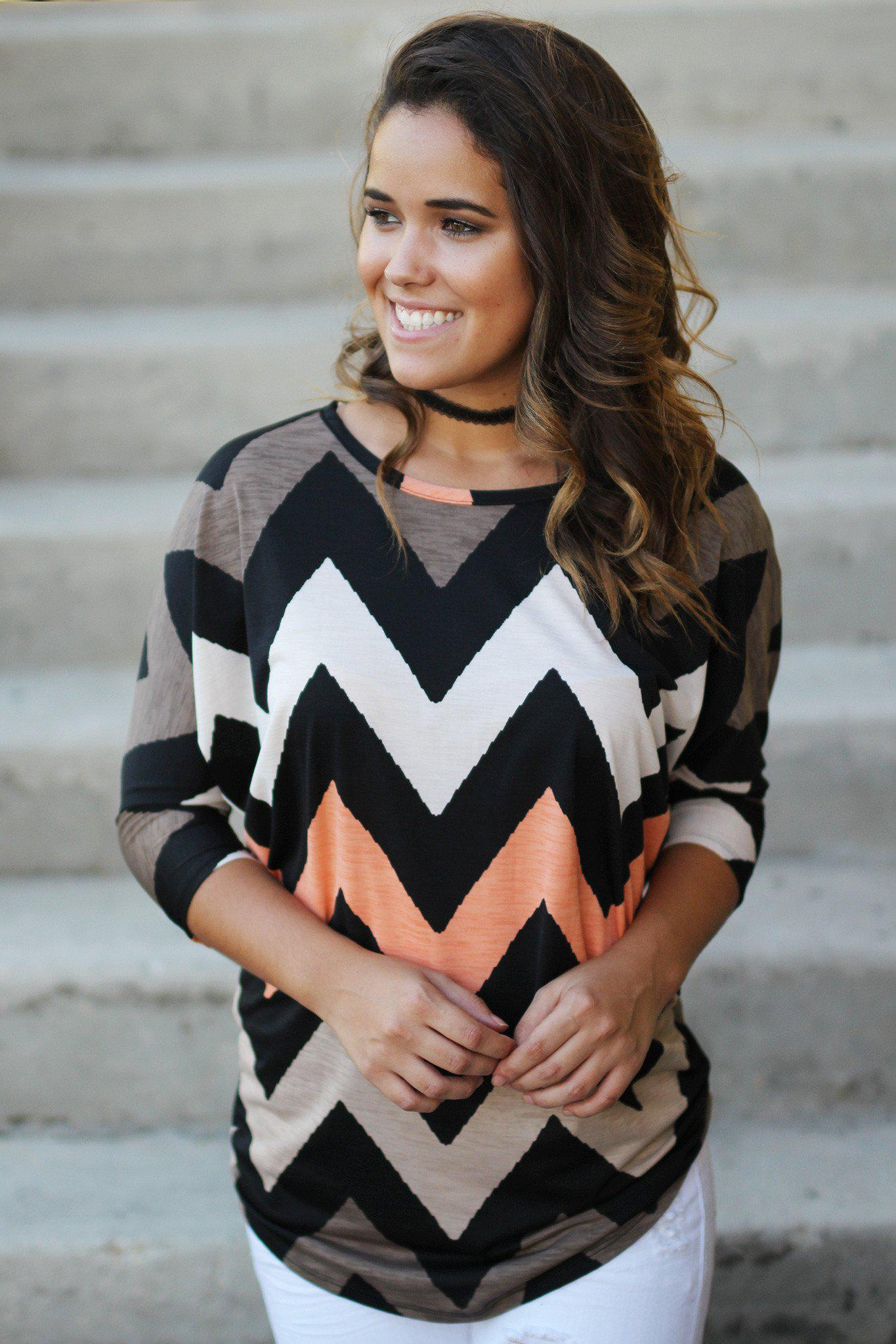 brown and peach chevron top
