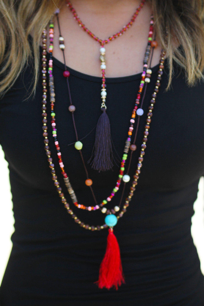 Brown Beaded Tassel Necklace