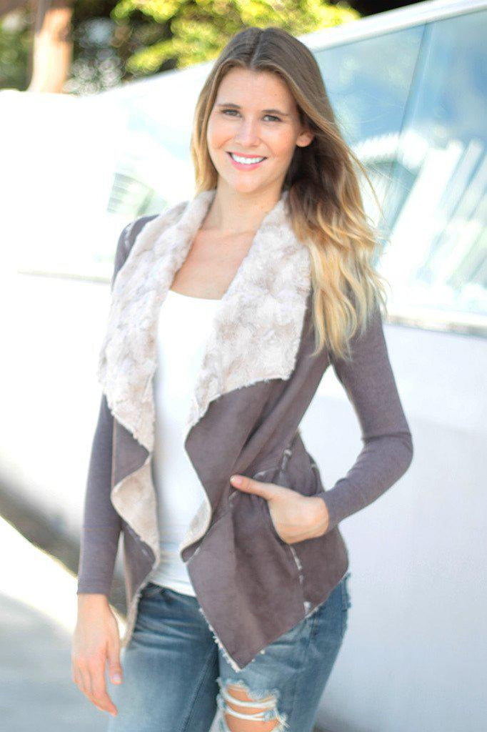 faux fur brown cardigan