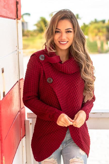 Burgundy Cowl Neck Knit Sweater