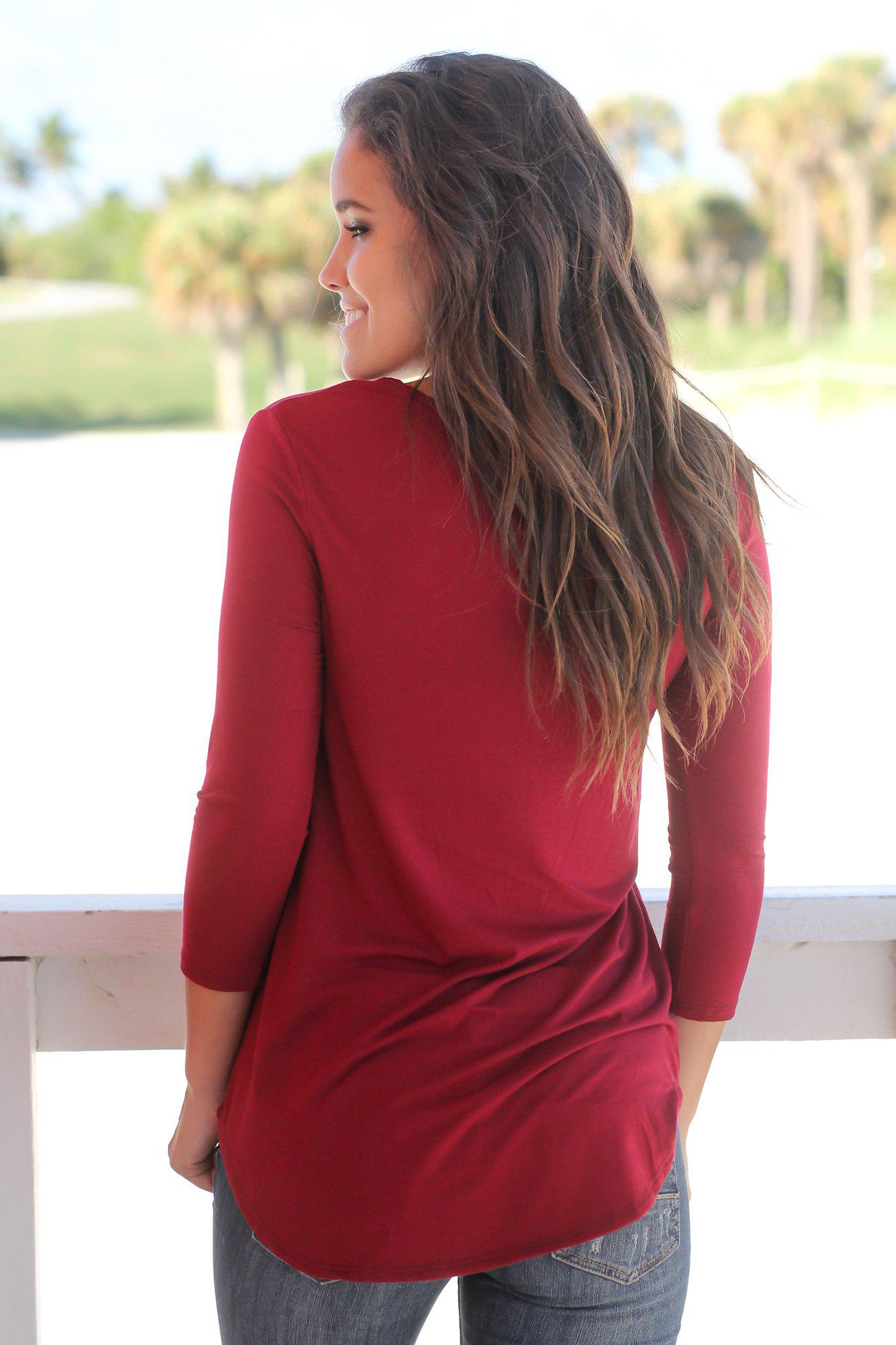Burgundy Criss Cross Top with 3/4 Sleeves