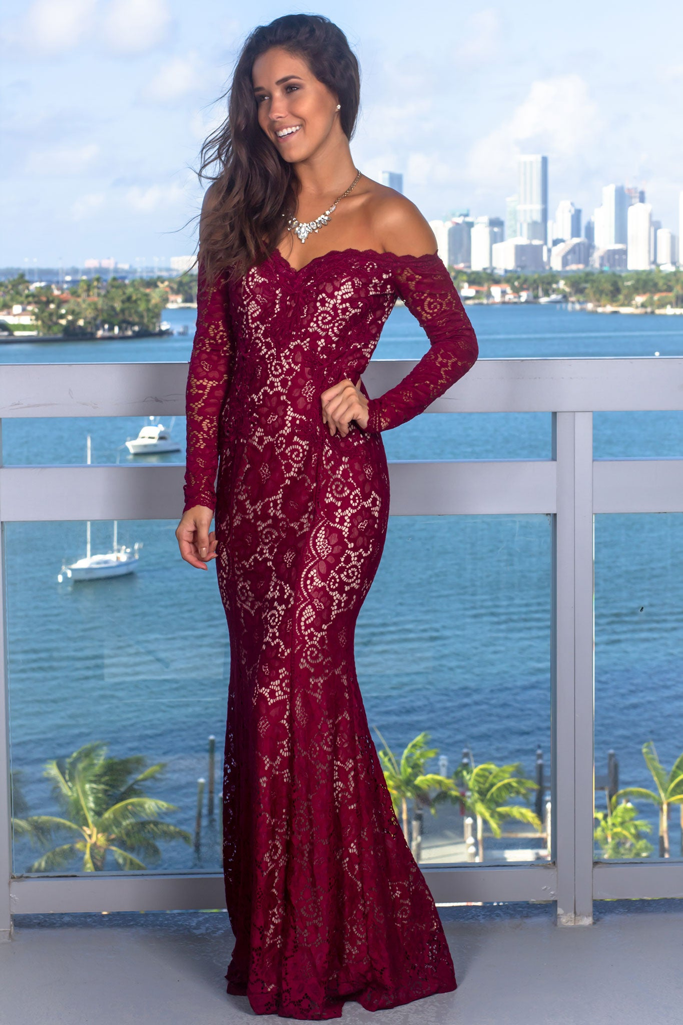 Burgundy Crochet Off Shoulder Maxi Dress