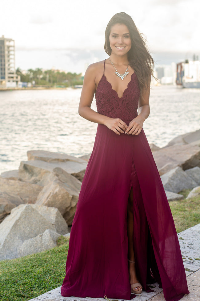 Burgundy Crochet Top Maxi Dress with Criss Cross Back