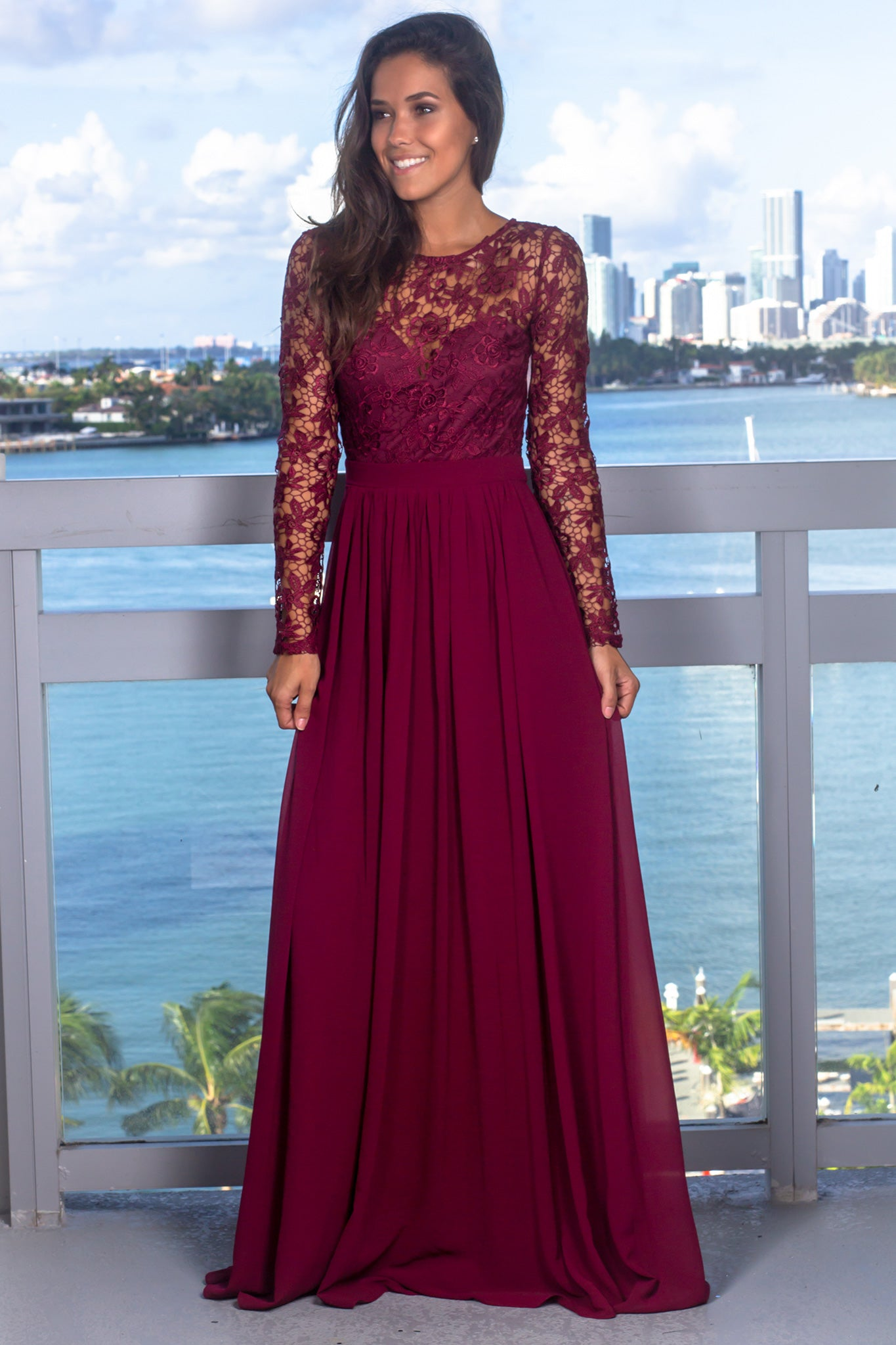 Burgundy Crochet Top Maxi Dress with Lace Up Back