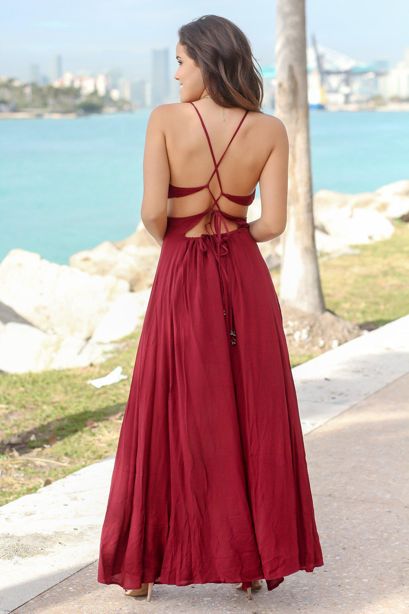 Burgundy Cut Out Maxi Dress with Open Back