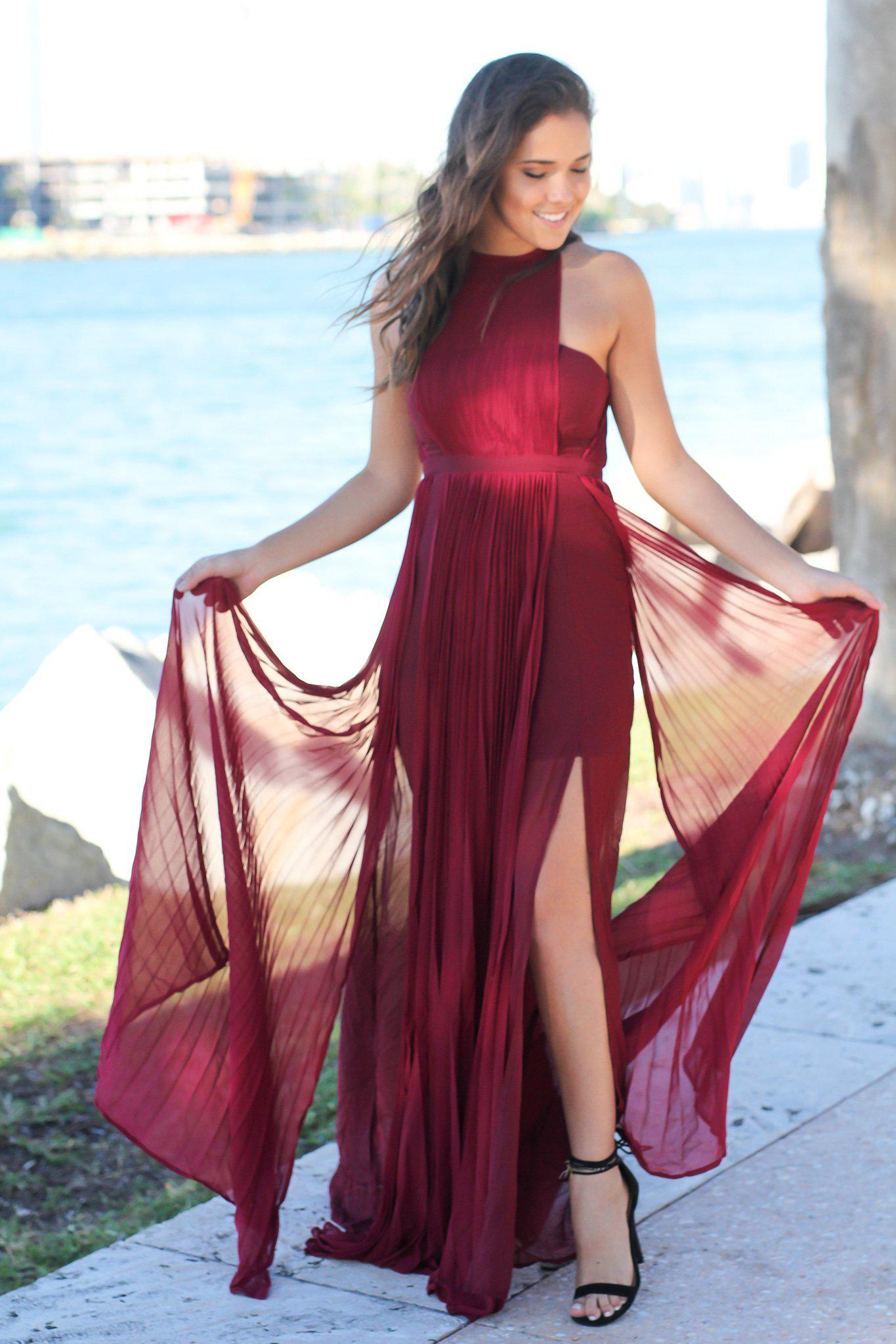 burgundy pleated maxi dress with side slits