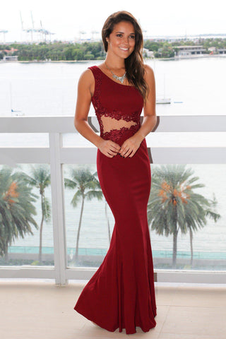 Burgundy Single Strap Maxi Dress with Mesh Detail