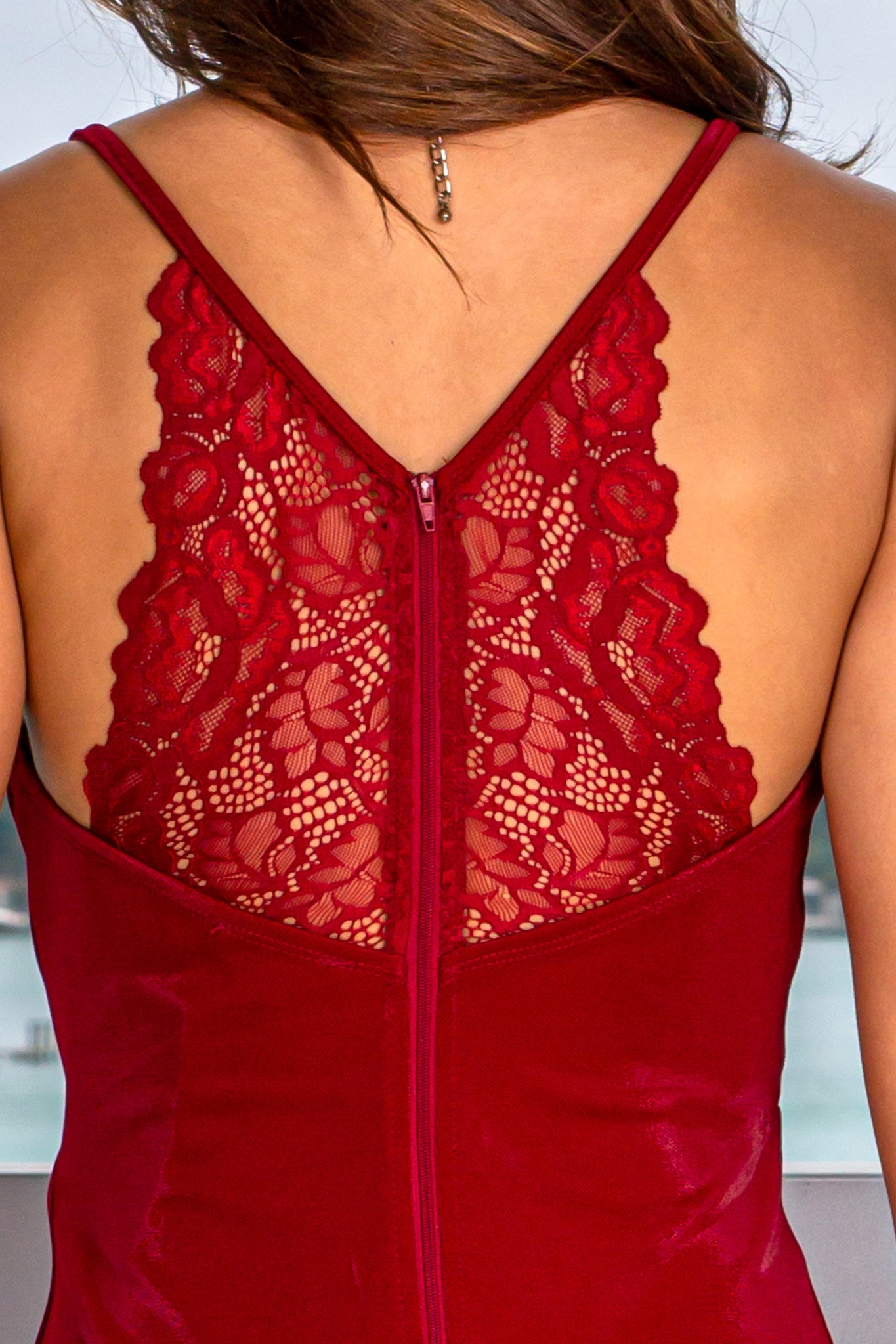 Burgundy Lace Back Midi Dress