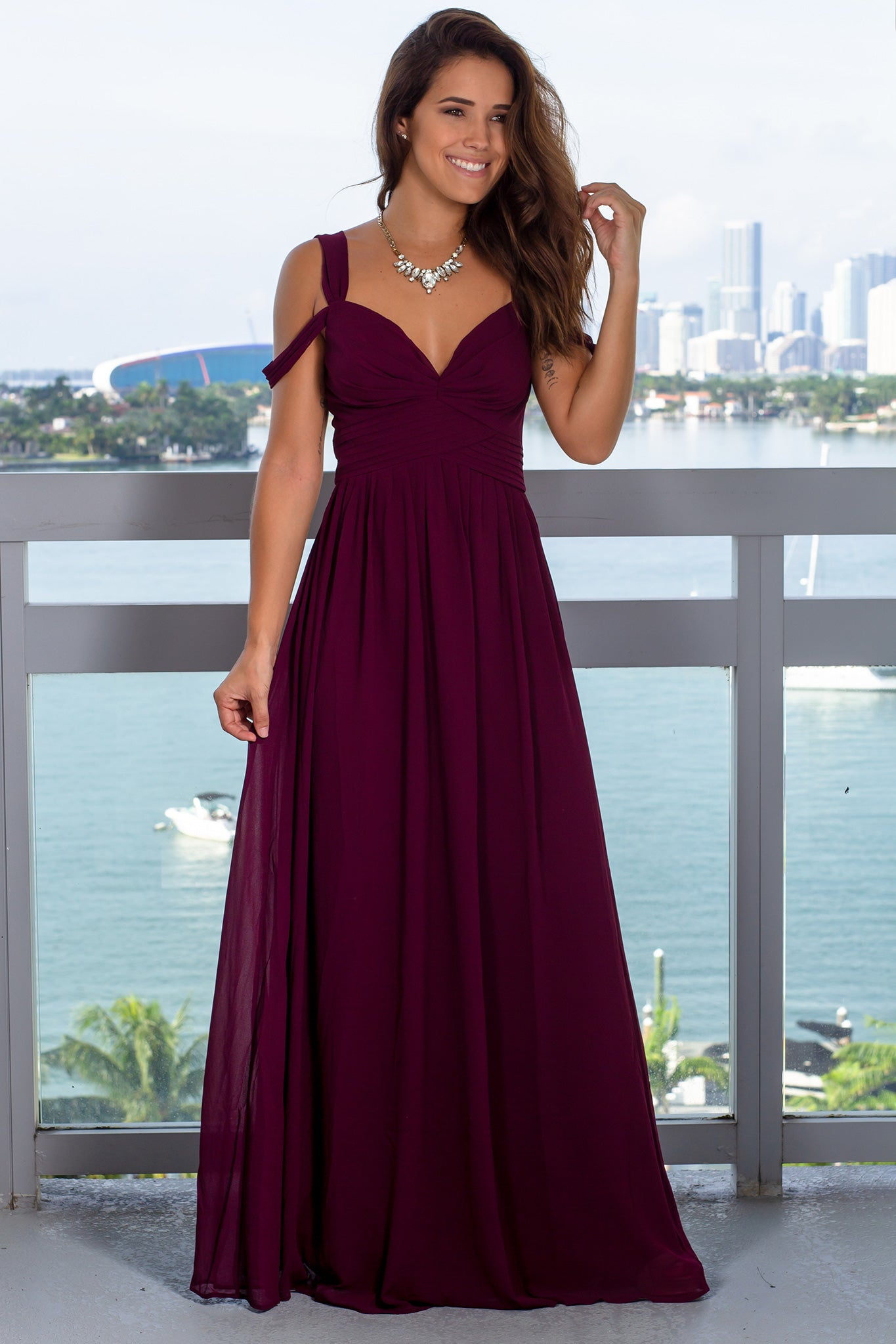 Burgundy Off Shoulder Maxi Dress with Pleats