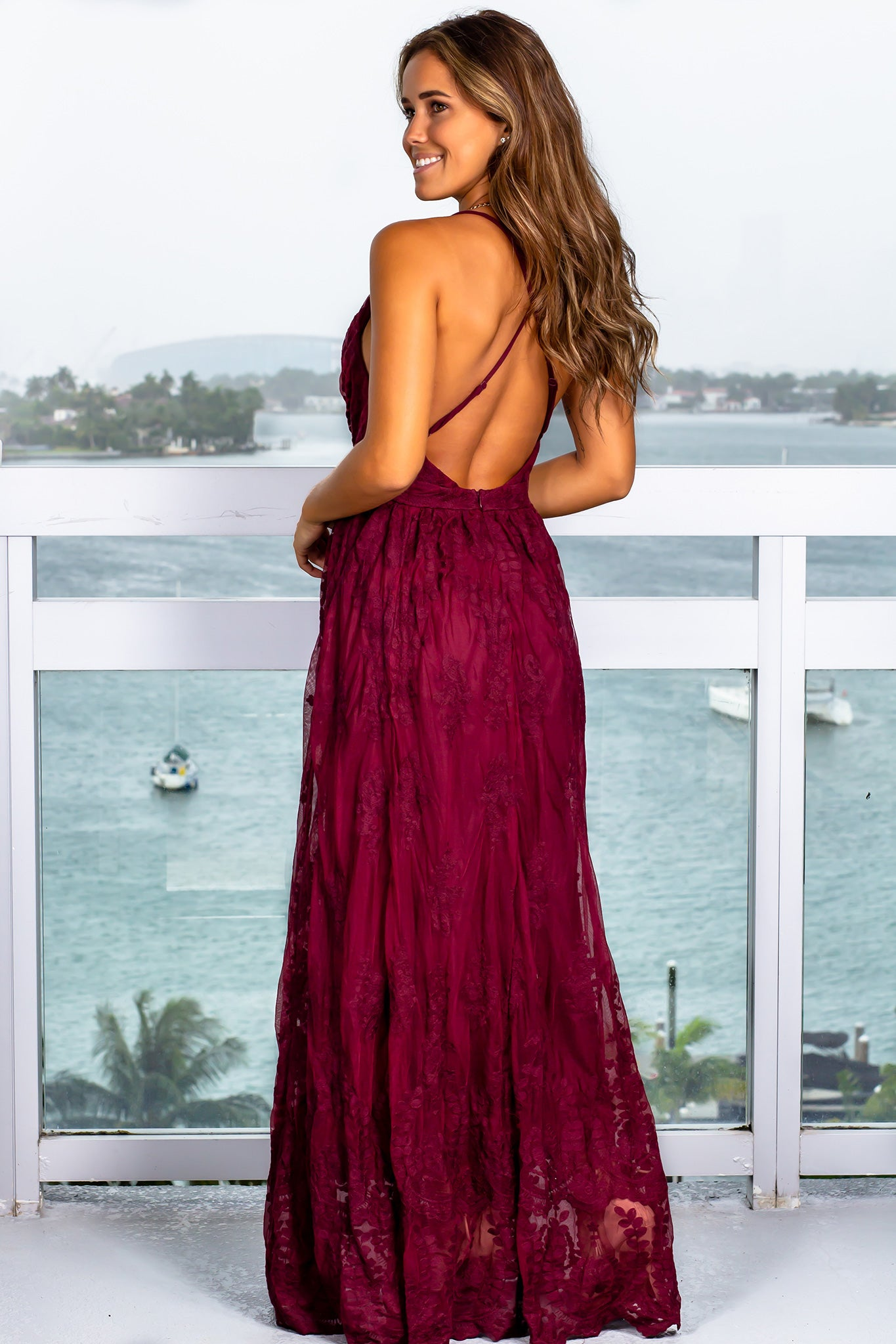 Burgundy Embroidered Maxi Dress with Criss Cross Back