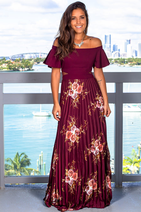 Burgundy Floral Pleated Maxi Dress with Ruffle Sleeves