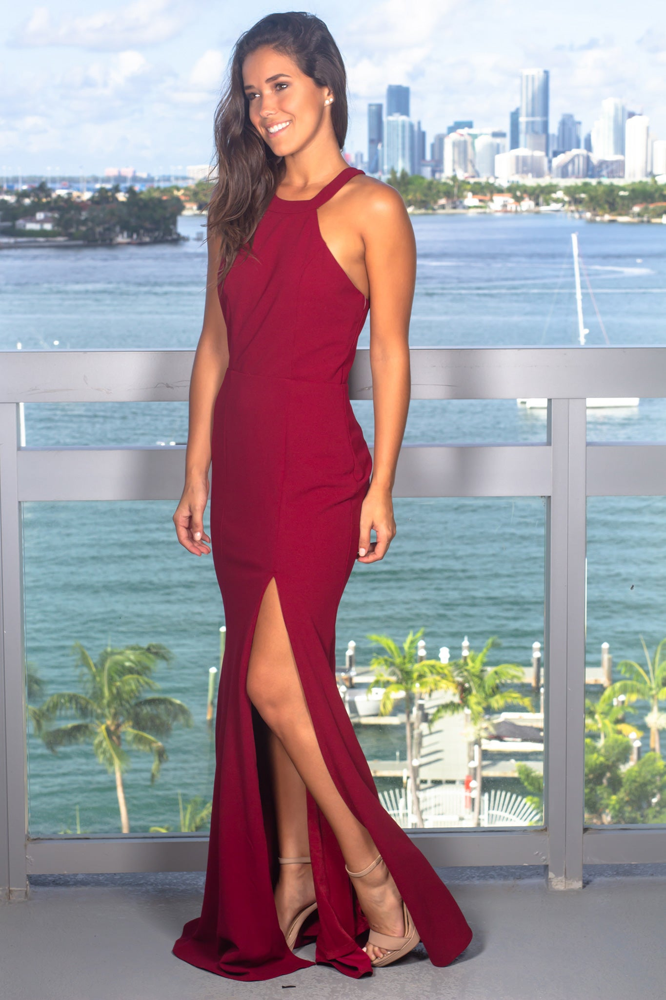 Burgundy Halter Neck Maxi Dress with Lace Detail
