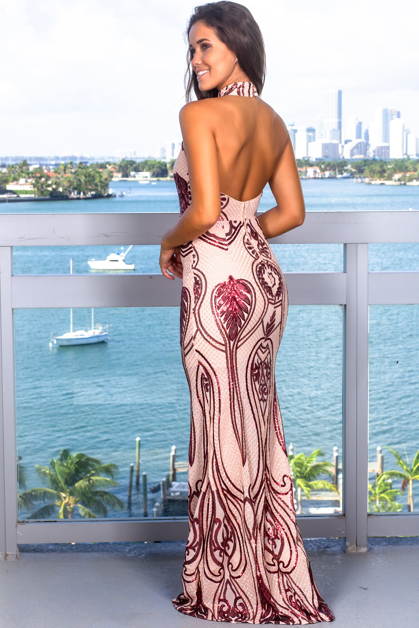 Burgundy Halter Neck Maxi Dress with Sequins