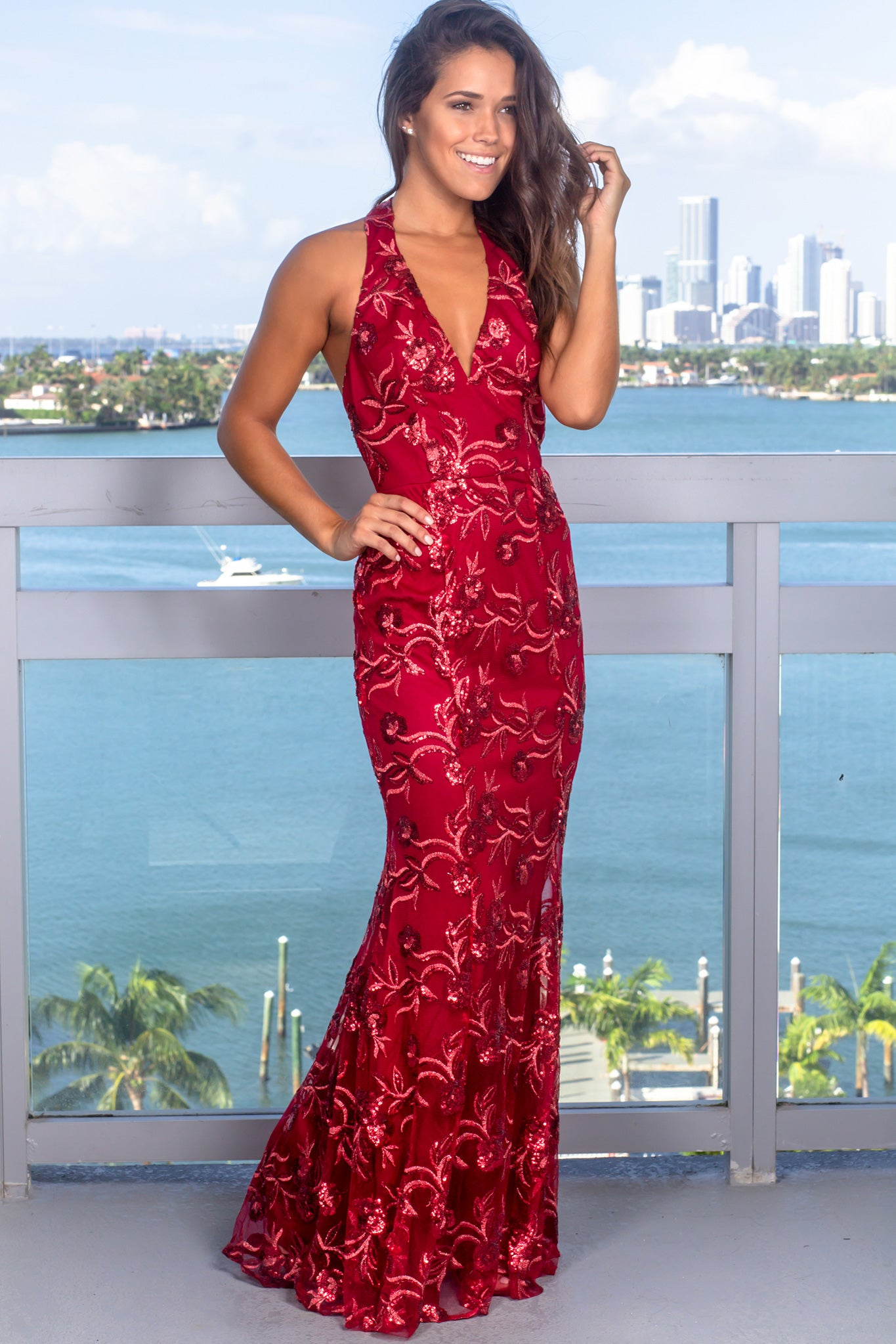 Burgundy Halter Neck Sequin Maxi Dress