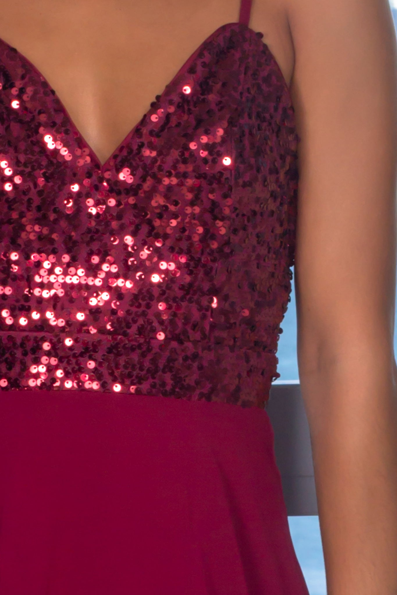 Burgundy High Low Dress with Sequin Top