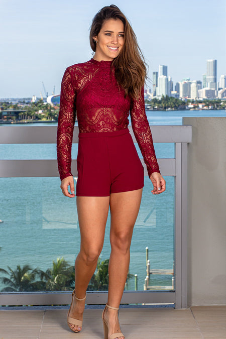 Burgundy High Neck Lace Romper
