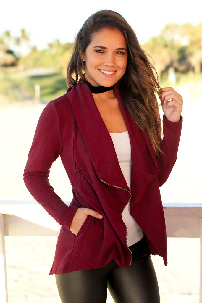Burgundy Jacket with Side Zipper