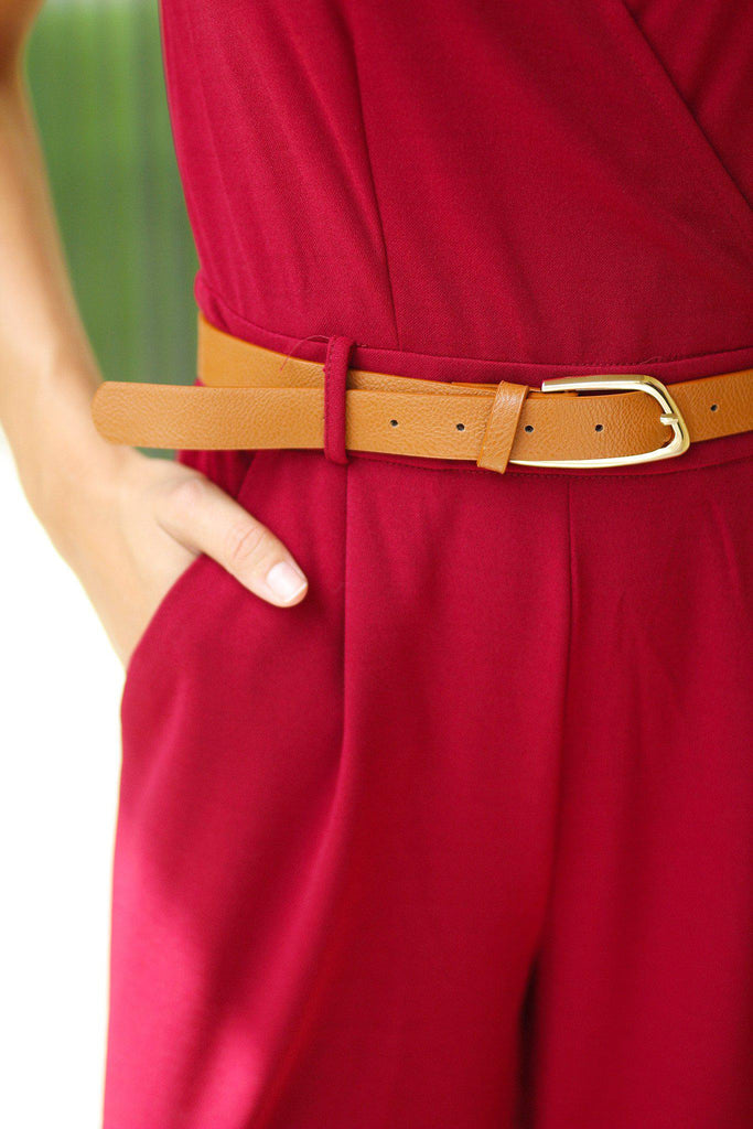 Burgundy Jumpsuit with Belt