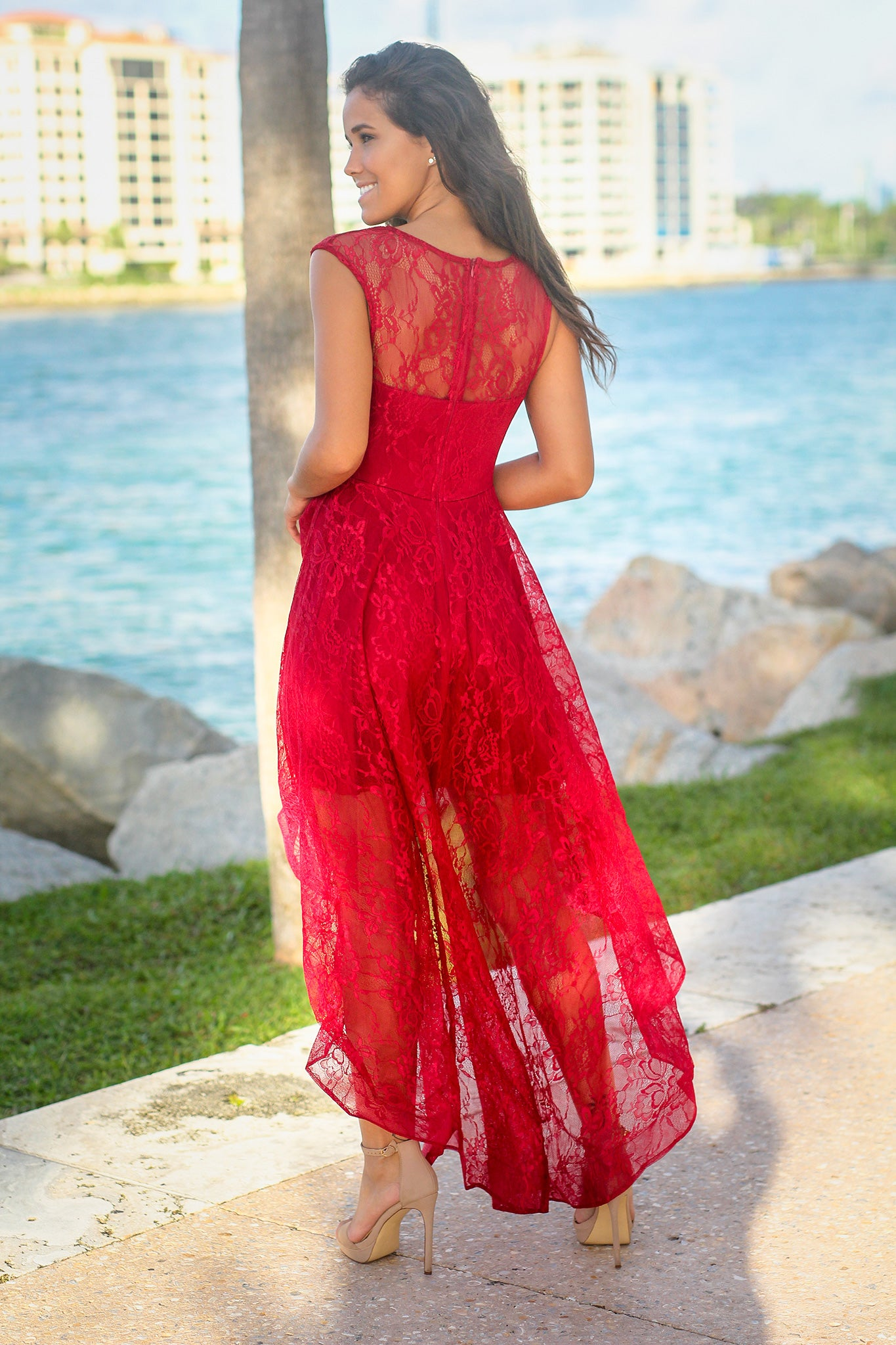 Burgundy Lace High Low Dress