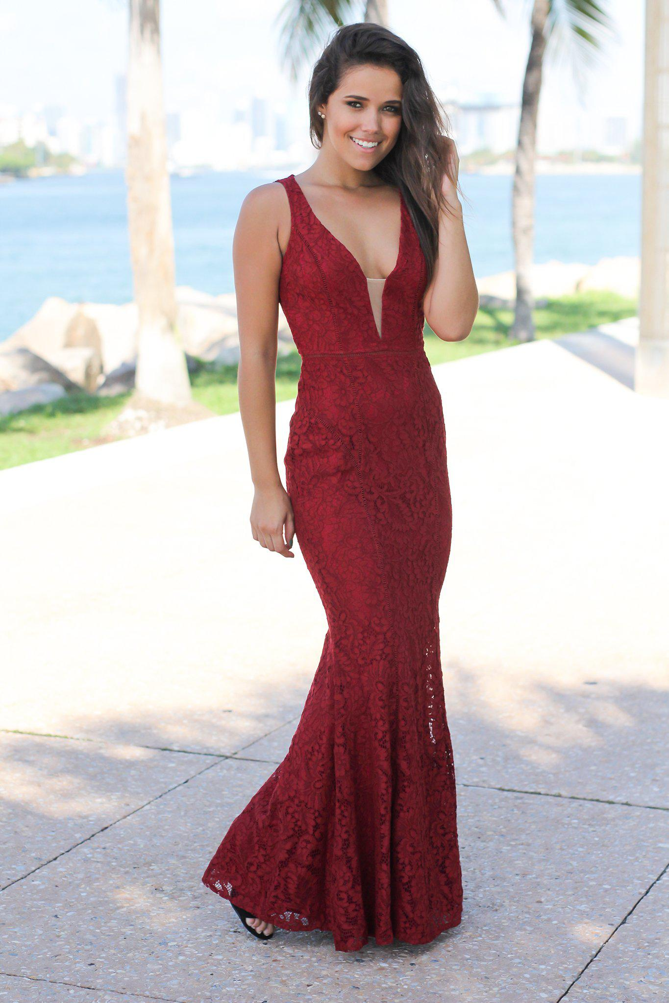 Burgundy Lace Maxi Dress with Mesh V-Neck
