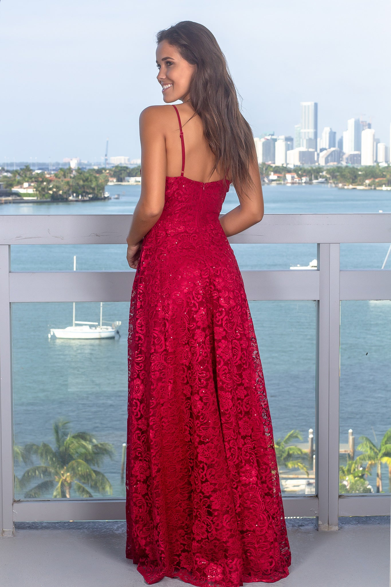 Burgundy Lace Maxi Dress with Sequins