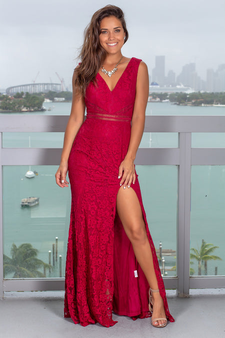Burgundy Lace Maxi Dress with Side Slit