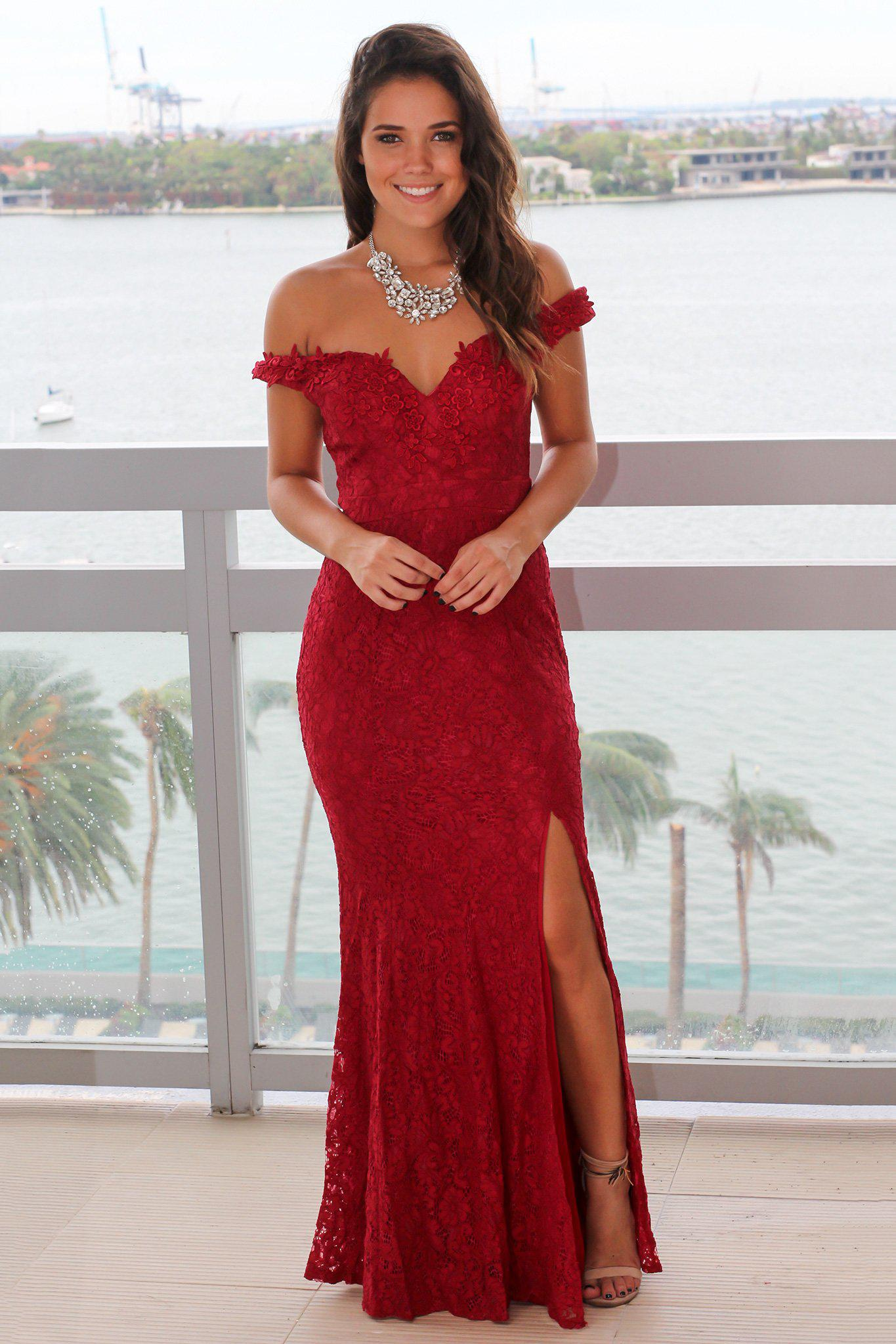 f30951bad015 Burgundy Lace Off Shoulder Maxi Dress