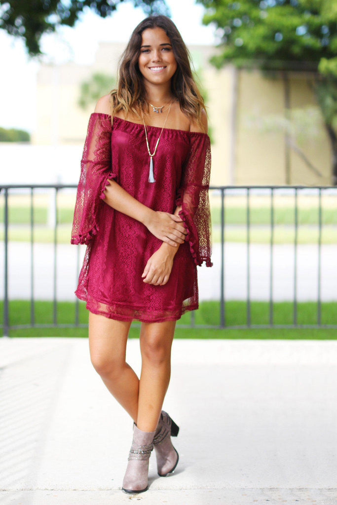 Wine Lace Off Shoulder Short Dress