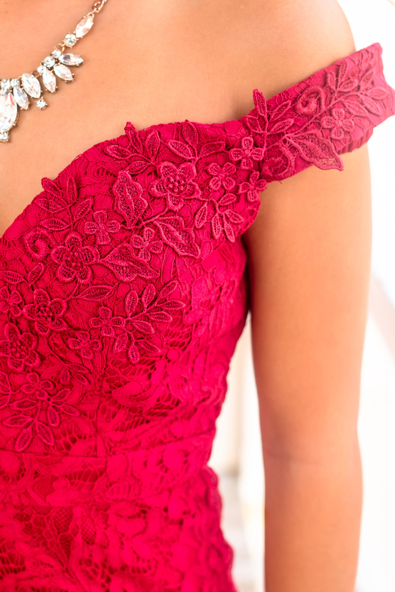 Burgundy Lace Short Dress