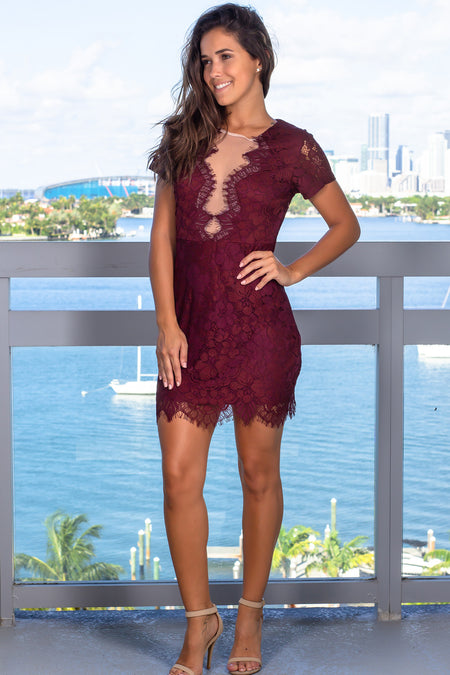 Burgundy Lace Short Dress with Mesh Detail