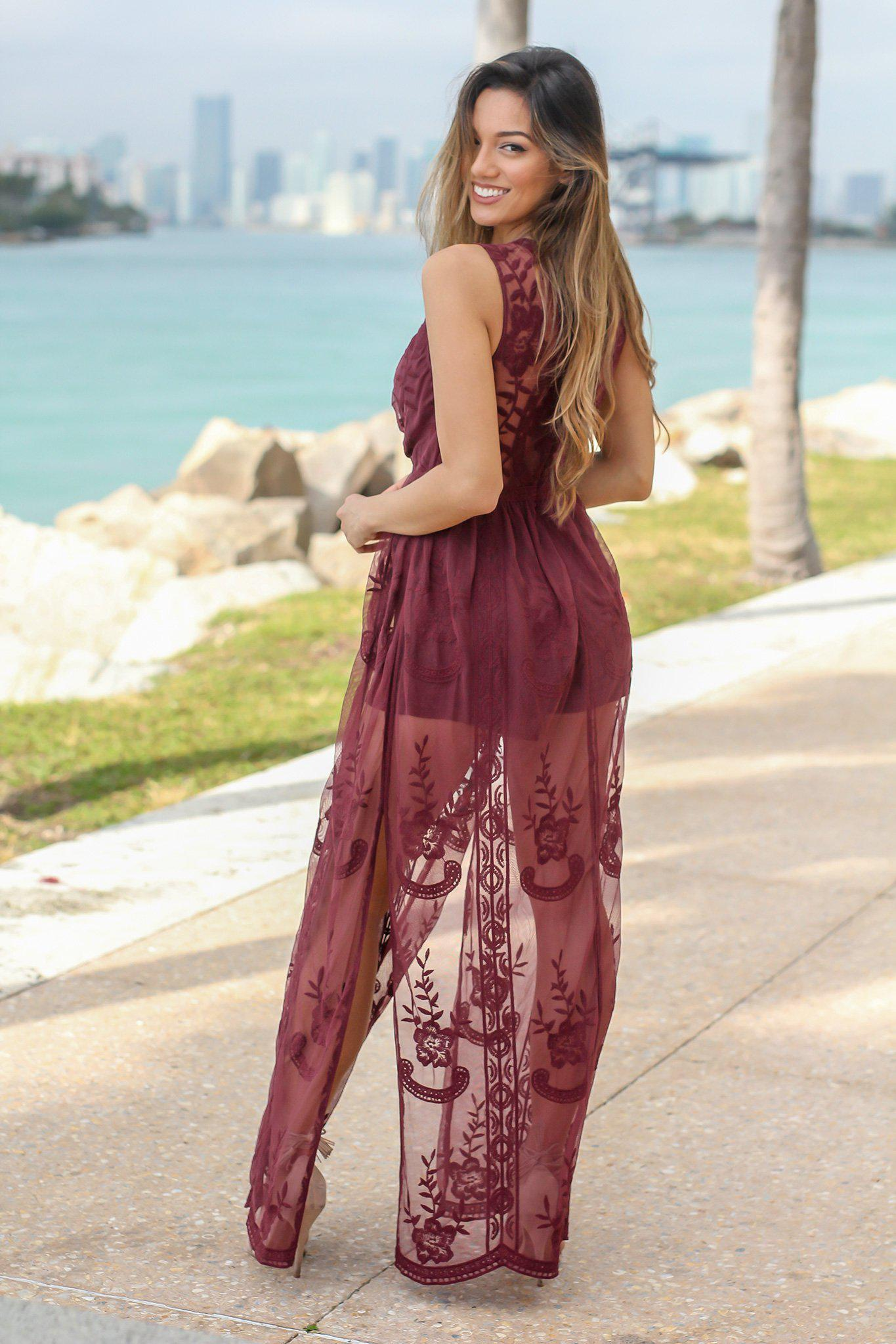 Burgundy Lace Sleeveless Maxi Romper