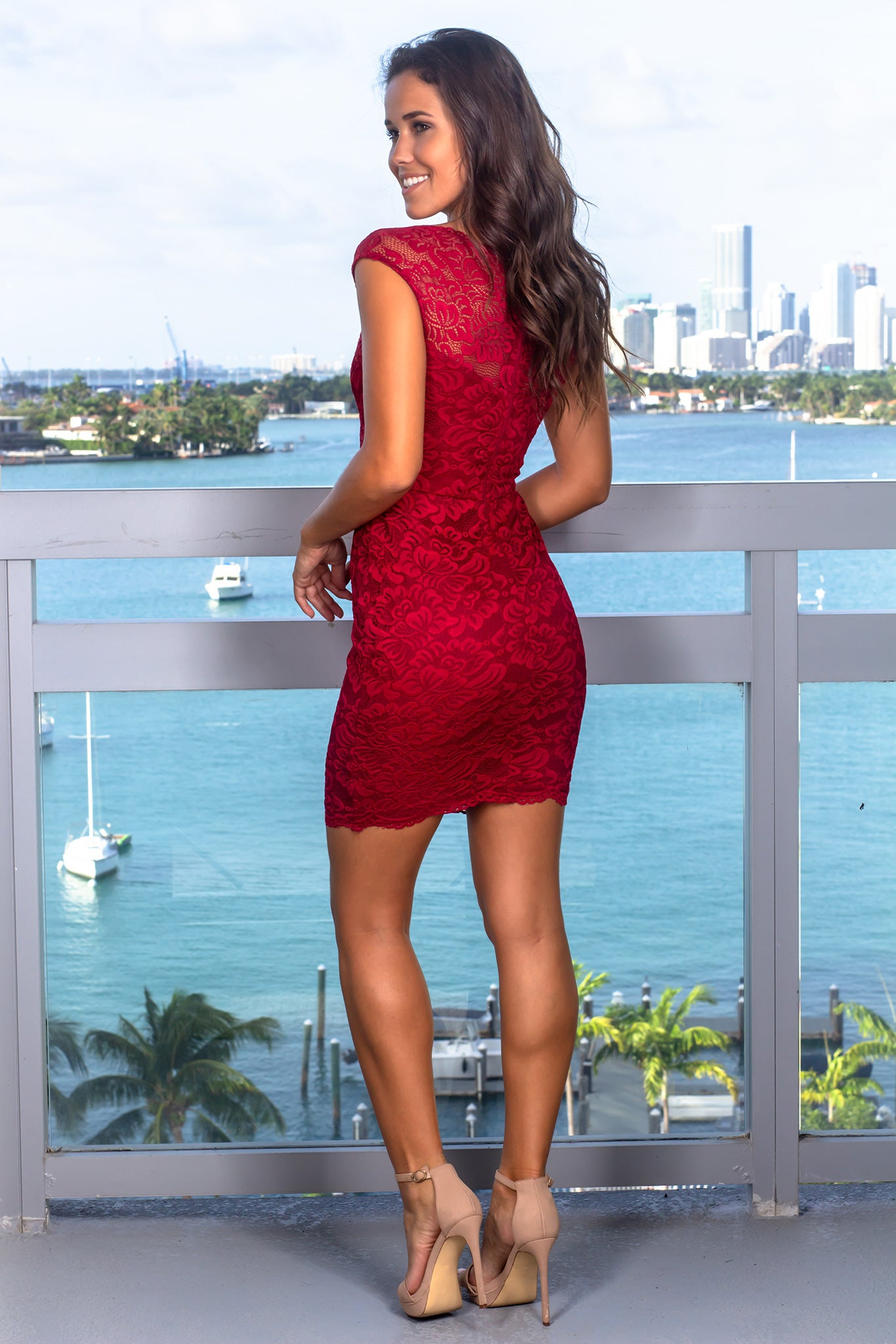 Burgundy Lace Sleeveless Short Dress