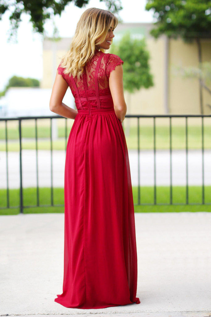 Burgundy Lace Top Maxi Dress