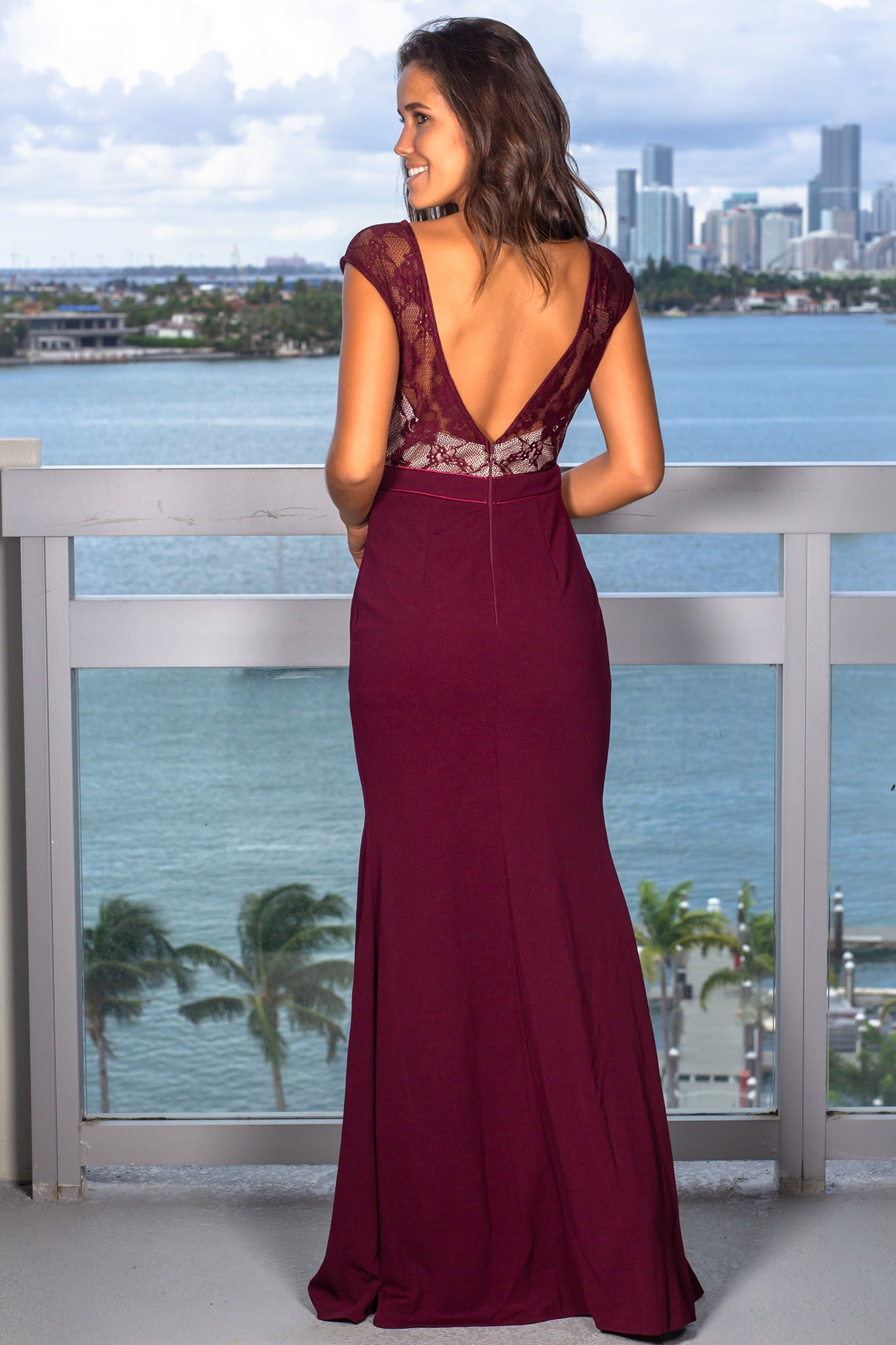 Burgundy Lace Top Maxi Dress with Side Slit