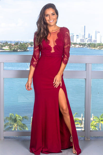 09782d9cb Burgundy Lace Top Maxi Dress with Silver Detail | Formal Dresses – Saved by  the Dress