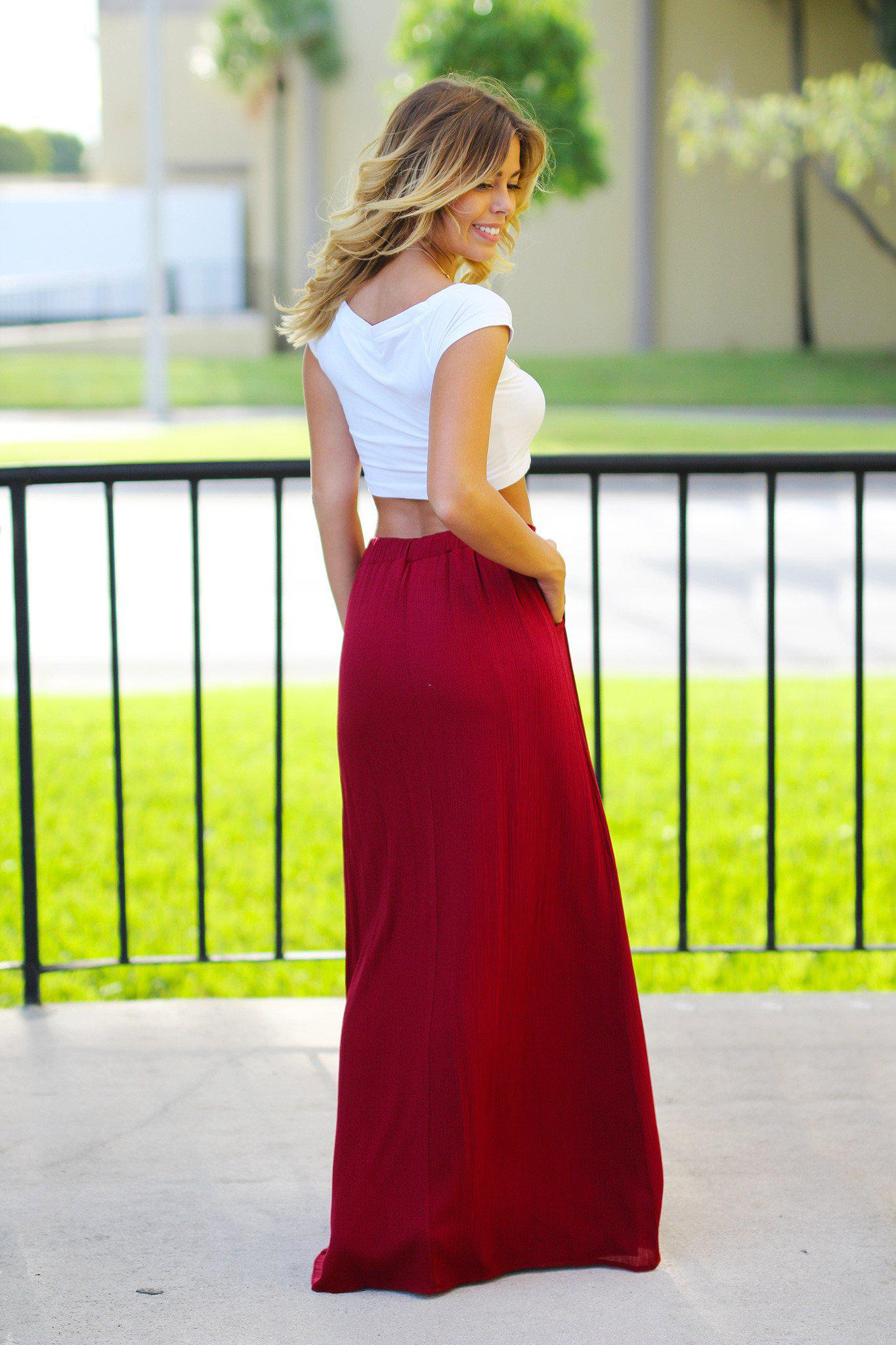 Burgundy Maxi Skirt with Pockets