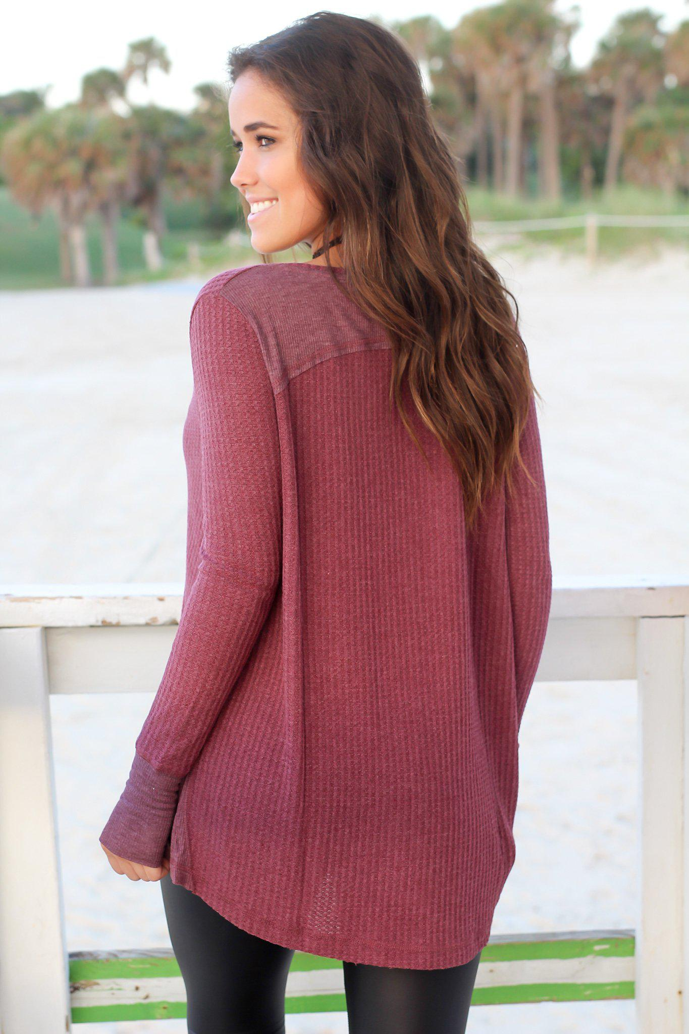 Burgundy Long Sleeve Top with Thumb Holes