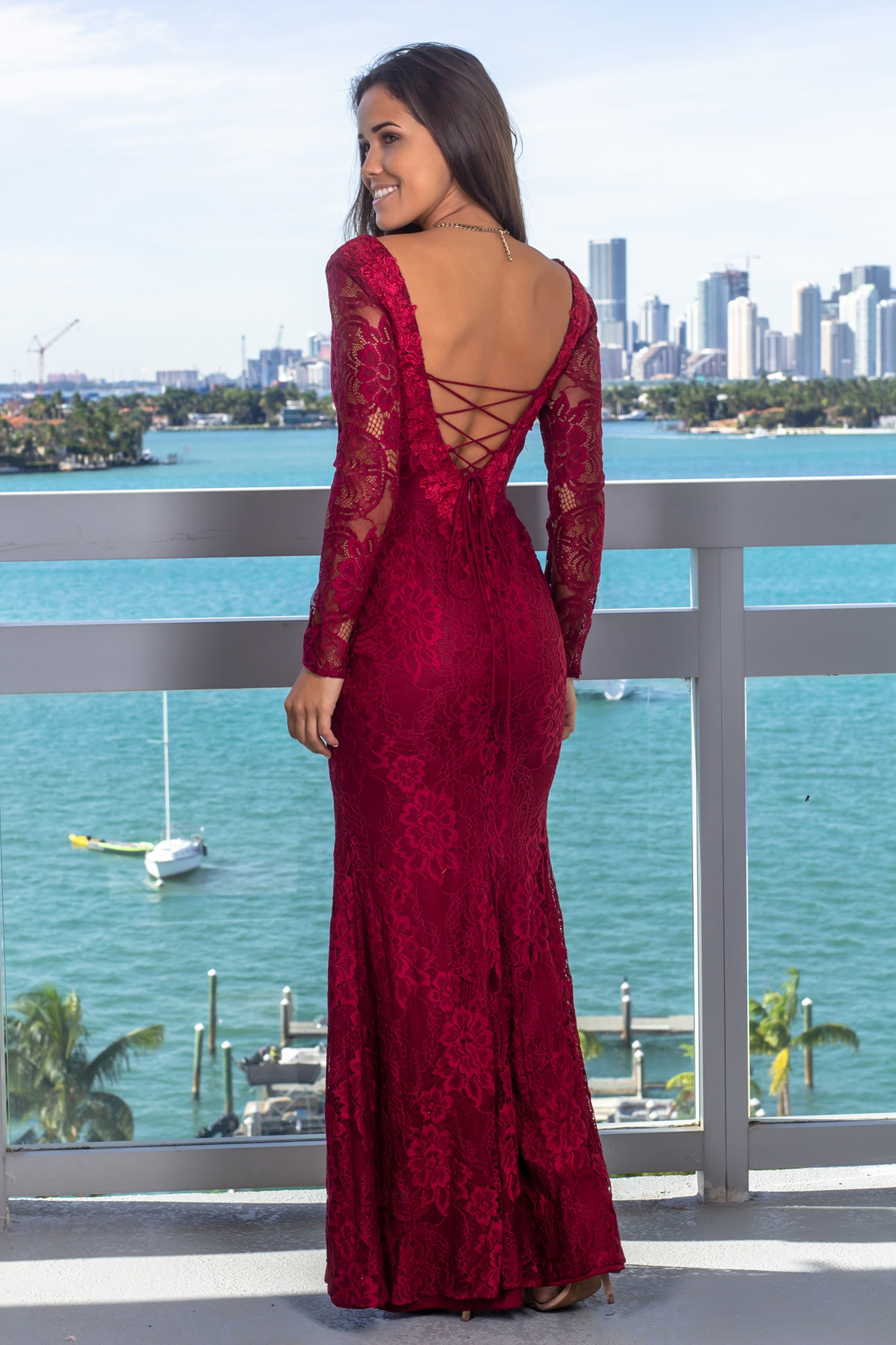 arriving Official Website choose official Burgundy Lace Maxi Dress with Strappy Back