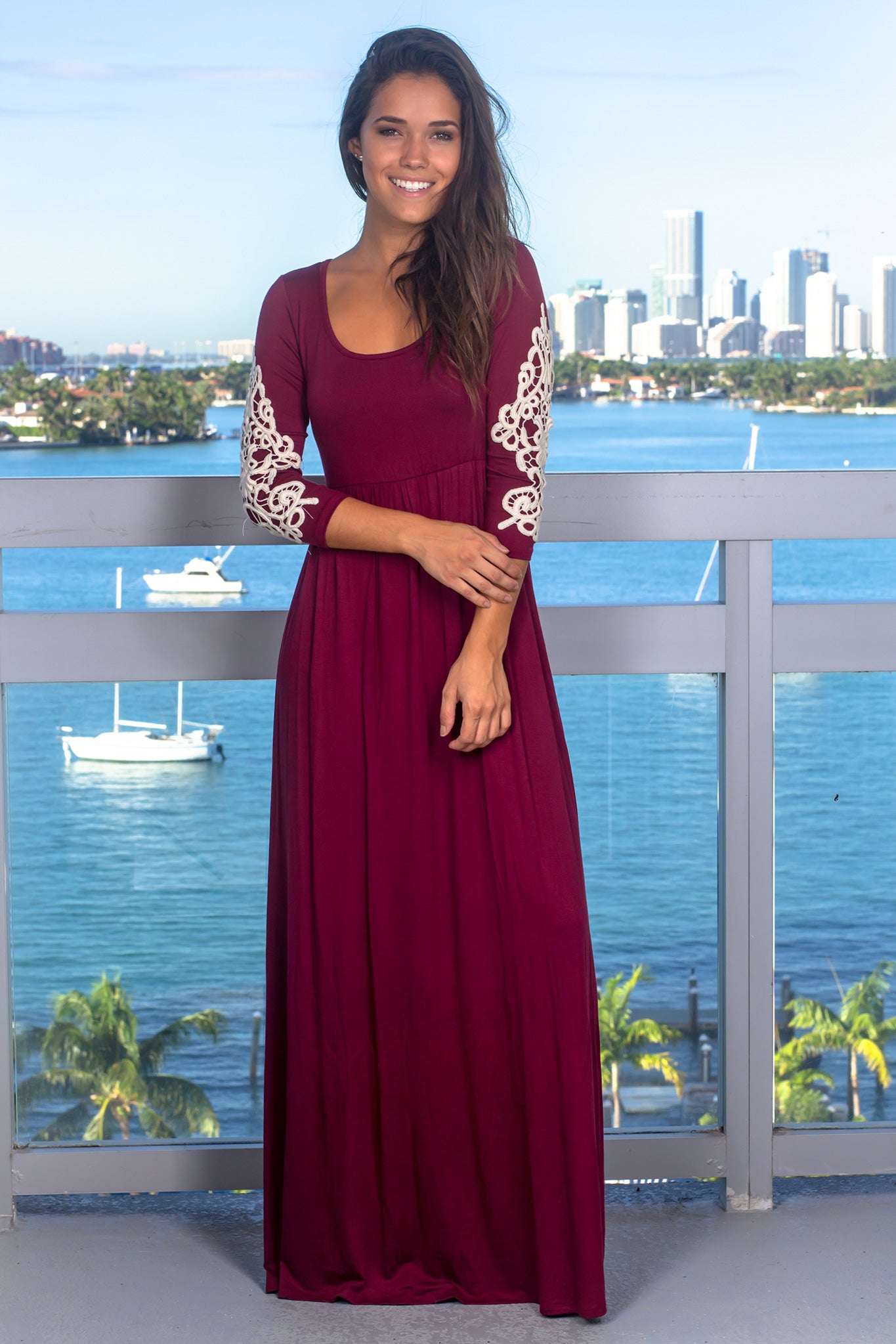 Burgundy Maxi Dress with 3/4 Sleeves and Crochet Detail