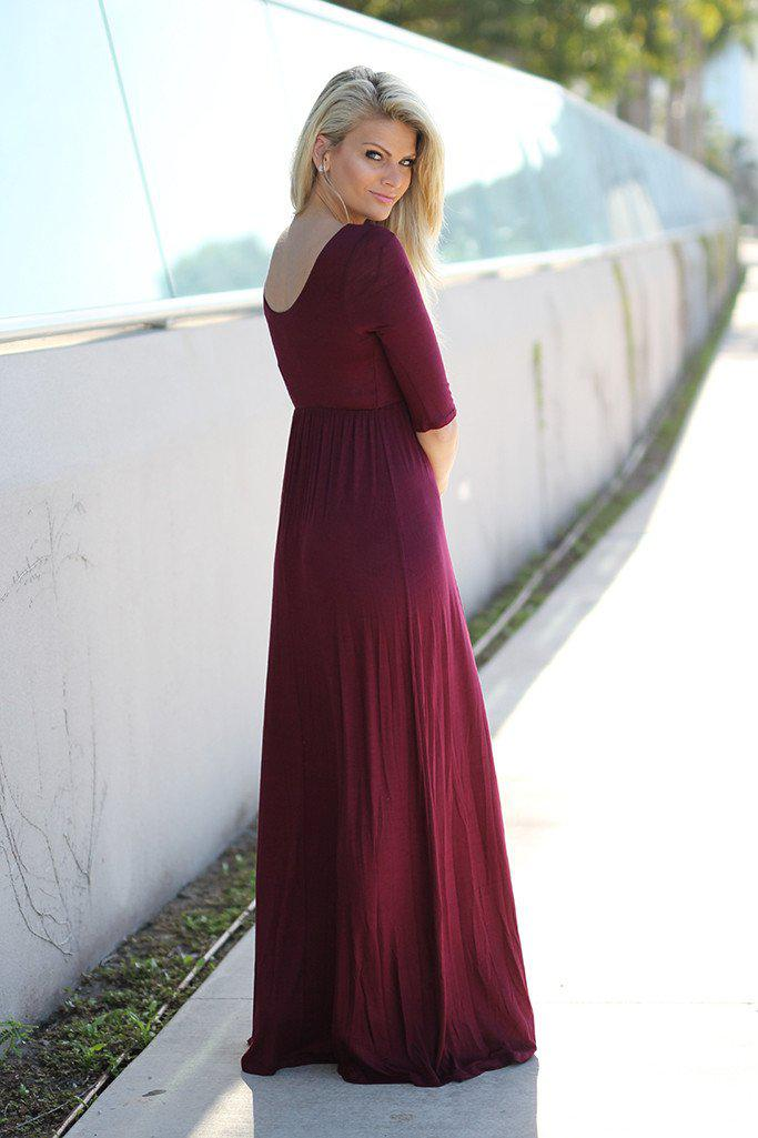 Burgundy Maxi Dress with 3/4 Sleeves